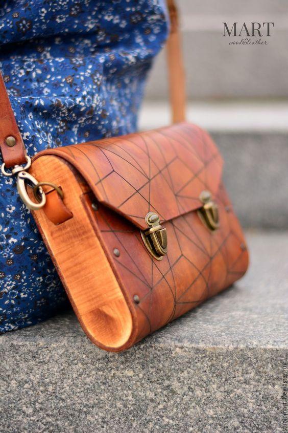 Leather and Wood Handbag | Коричневая женская сумка из кожи и дерева Triangle деревянный клатч - Кожаная сумка