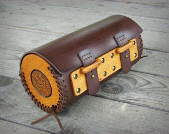 Hand sewn motorcycle Wood-Leather fork bag with carved oak wood panels / made to order